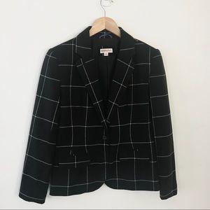 Merona Plaid Black and White Blazer Size 6